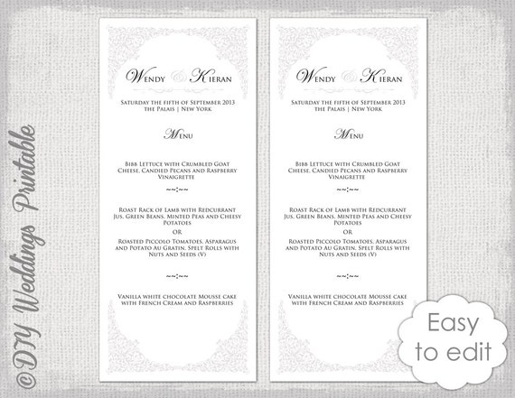 photo relating to Printable Menu Card identify Marriage ceremony menu template Classic grey \