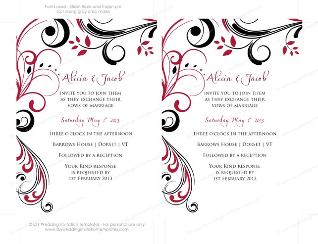 Pocketfold Wedding Invitation Template DIY Apple Red And Black