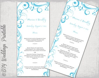 "Wedding Menu template - Malibu Blue DIY printable menu -""Scroll"" digital Turquoise menu -YOU EDIT template - instant download"