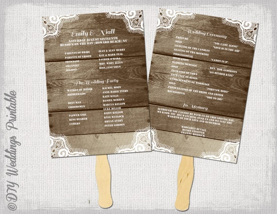 rustic wedding program template fan wedding programs etsy