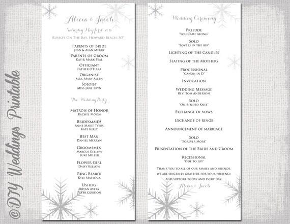 winter wedding program template snowflake wedding etsy
