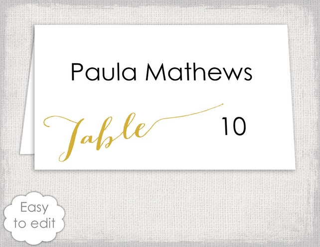 Printable Wedding Place Cards Template Modern Calligraphy Script Diy