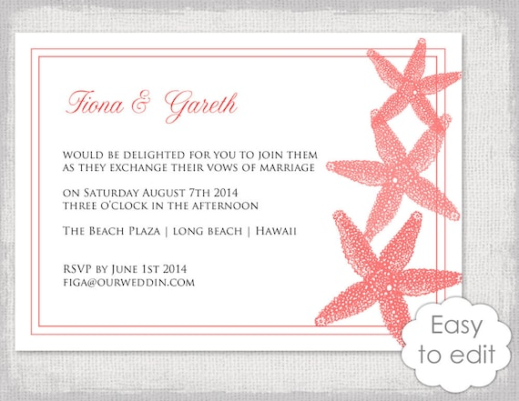 Printable Beach Wedding Invitation Template Deep Coral Etsy