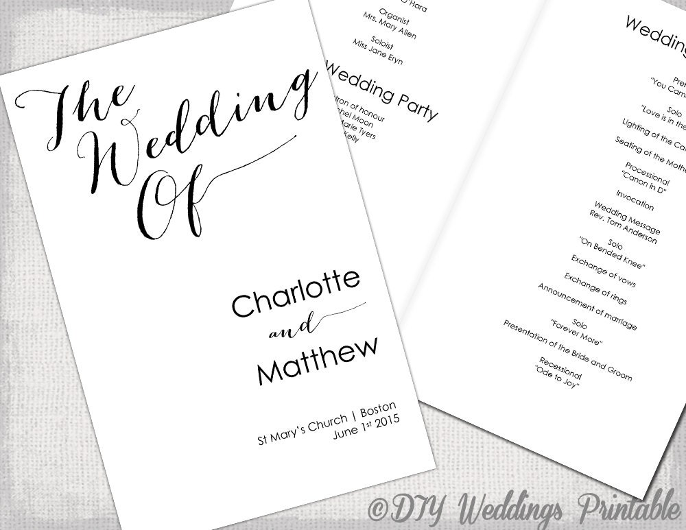 Wedding program template Calligraphy black & white printable | Etsy