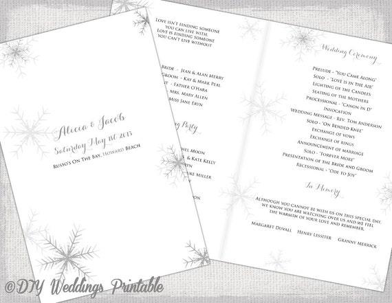 snowflake wedding program template diy printable winter etsy