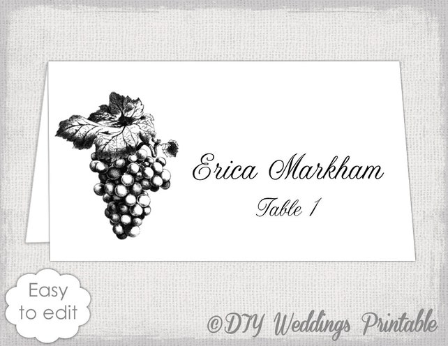 Place Card Template Grapes Name Card Templates Wine Themed Diy