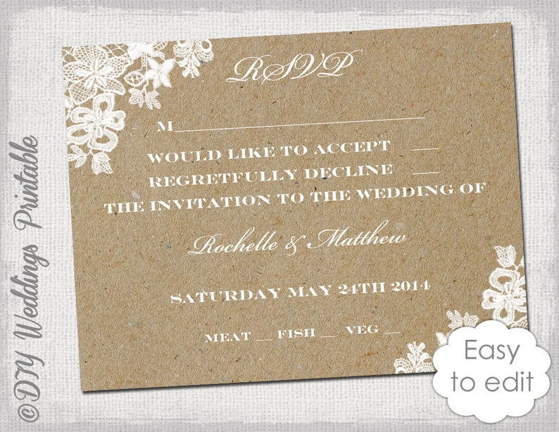 Wedding Rsvp Template.Wedding Rsvp Template Rustic Lace Printable Response Card Digital Wedding Rsvp Card Kraft Editable Word Templates Print At Home Download