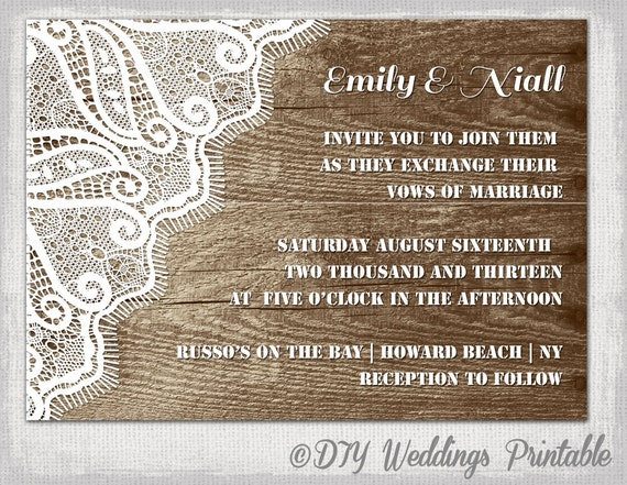 Rustic Wedding Invitation Template Wood Lace Wedding Invitations Digital Printable Invite Word Template 4x6 Or 5x7 Download