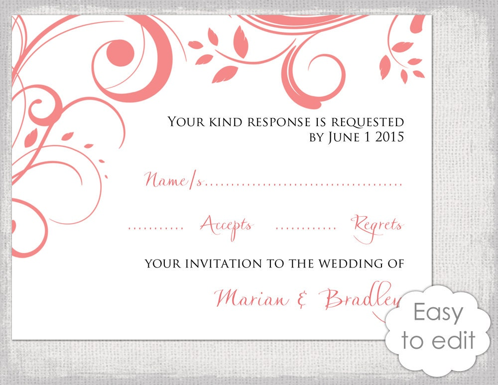 Wedding RSVP card template DIY Coral Scroll  Etsy