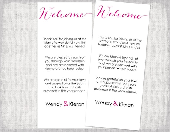 welcome card template modern calligraphy editable begonia pink etsy
