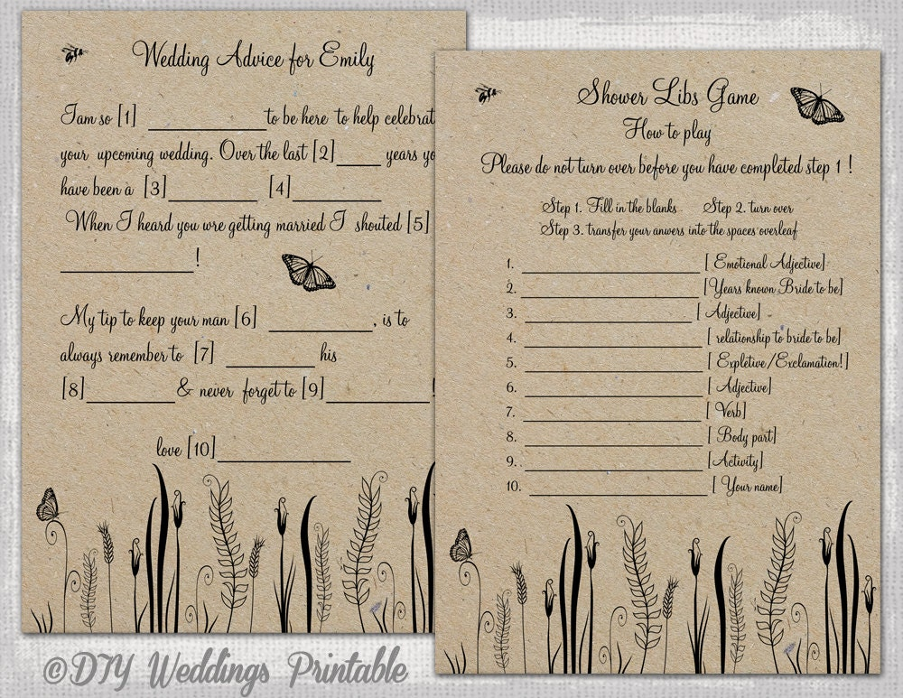 photo about Free Printable Wedding Mad Libs Template identify Wedding ceremony Ridiculous Libs template Printable Rustic Do it yourself \