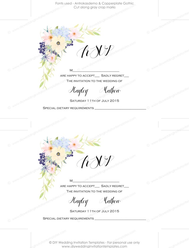 Wedding Invitation Template Set Watercolor Eden Printable Flower