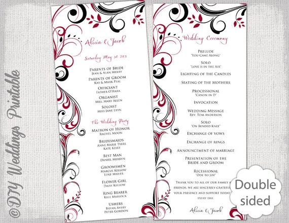 "Black & white wedding program template -instant download ""scroll."