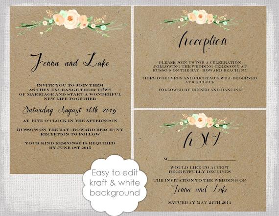 Rustic Wedding Invitation Template Set Diy Rustic Etsy