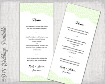 "Wedding menu template -""Vine"" Pistachio green wedding menu -DIY wedding menu template, digital printable menu -EDITABLE instant download"
