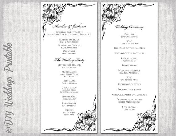 wedding program template black white wedding program black etsy
