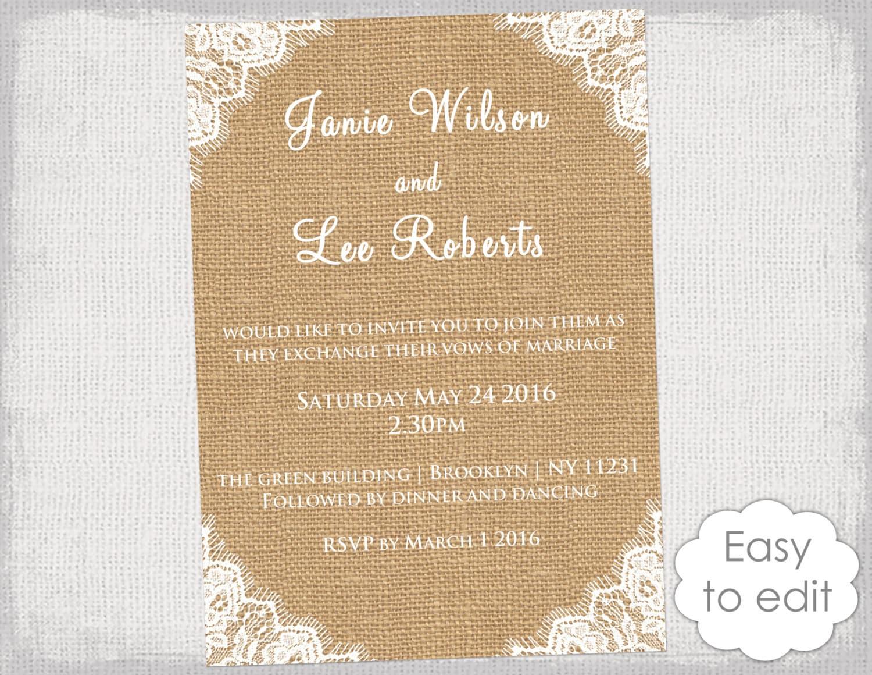 rustic invitation template burlap invitations with
