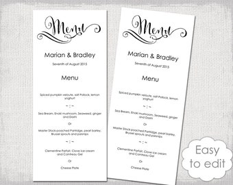 "Printable Wedding Menu template Modern calligraphy script black menu DIY ""Cantoni"" digital menu templates YOU edit Word instant download"