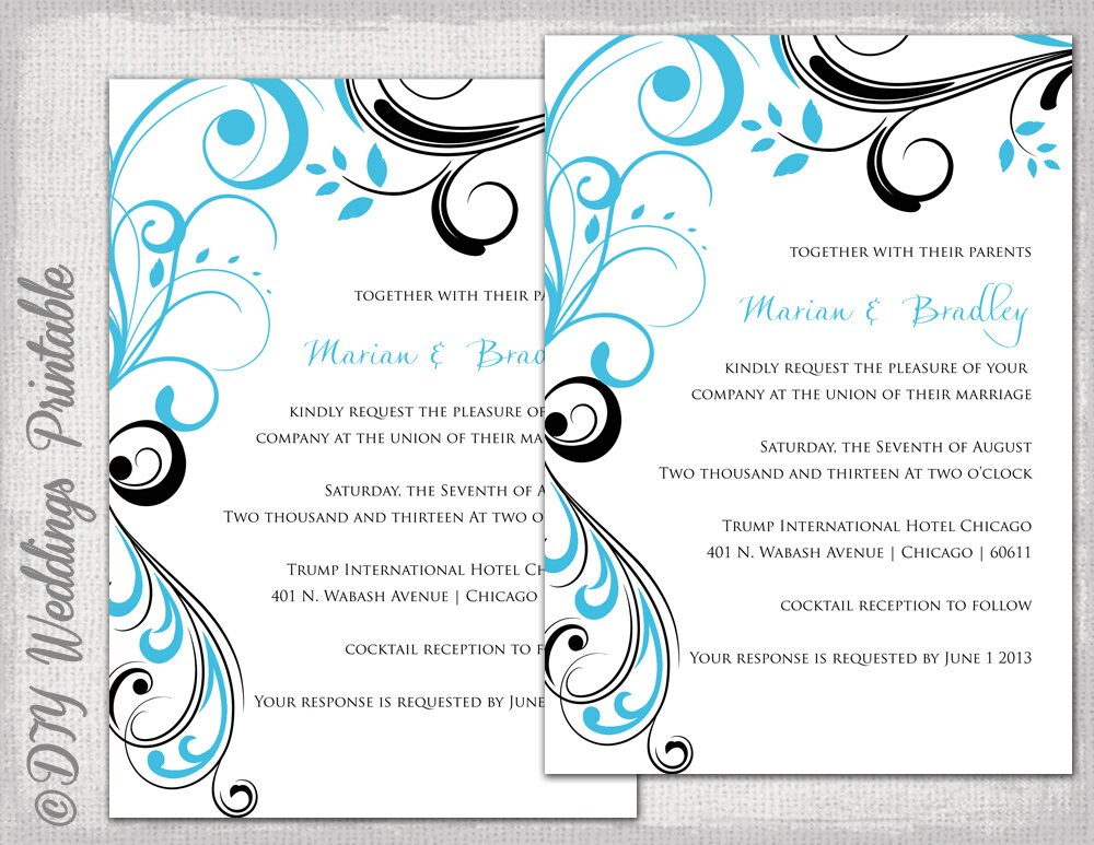 Wedding invitation templates Turquoise and black | Etsy