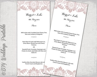 "Menu template Dusky pink Lace wedding menu templates -""Antique Lace"" pink digital printable menu -YOU EDIT template - instant download"