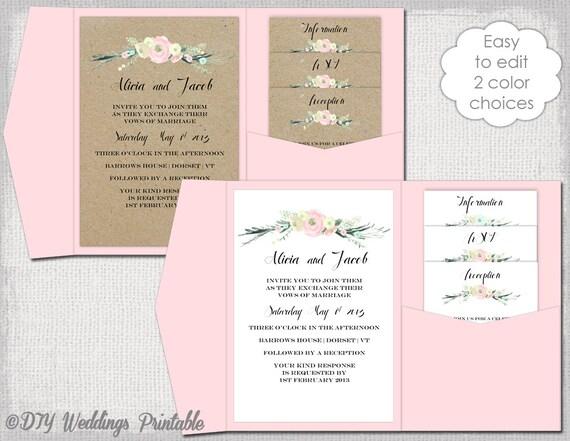 Diy Pocket Wedding Invitations Templates | Pocket Invitation Template Diy Pocketfold Wedding Invitations Etsy