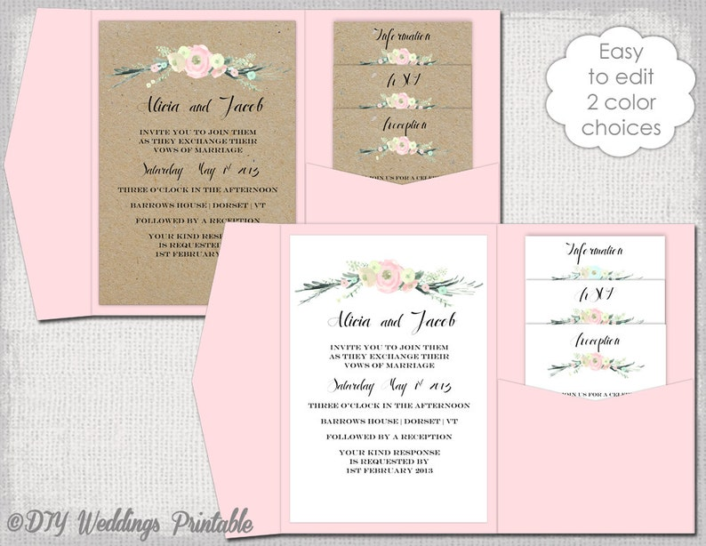 Pocket Invitation Template Diy Pocketfold Wedding Invitations Etsy