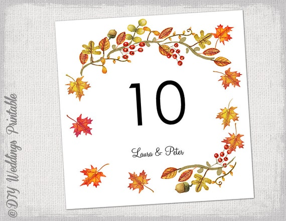 Number Templates | Printable Fall Table Number Template Diy Number Templates Etsy