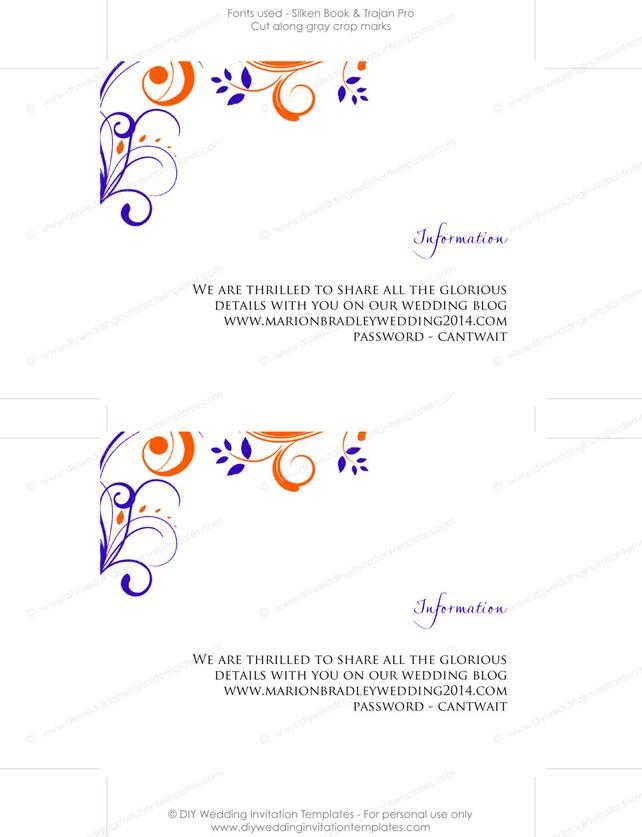 Enclosure Template Diy Orange Royal Blue Scroll Information Card