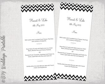 "Menu template -black and white DIY wedding menu -""Chevron"" digital printable menu YOU EDIT black menu template - Word instant download"