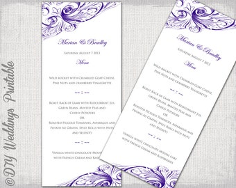 "Wedding menu template -Regency purple DIY wedding menu -""Vintage Scroll"" Eggplant digital printable menu Editable YOU edit instant download"