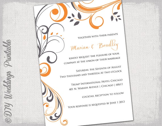 printable wedding invitation template orange and gray etsy