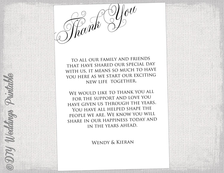 printable thank you card template black & white wedding thank | etsy