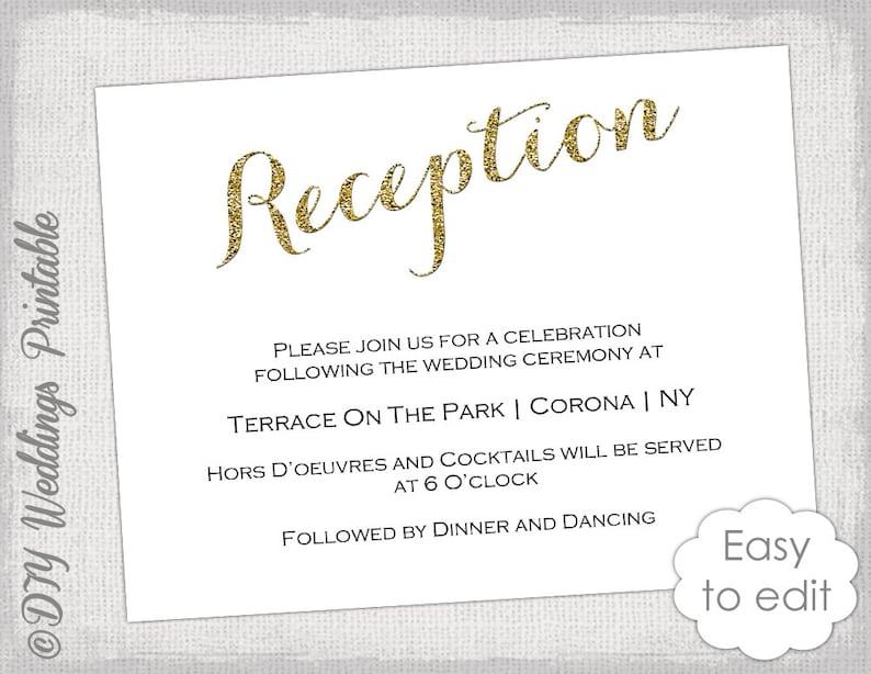Wedding Reception Invitation Template Diy Gold Etsy
