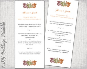 "Fall Wedding menu template -""Acorns"" printable menu -DIY wedding menu,woodland digital YOU EDIT menu -Editable word template download"