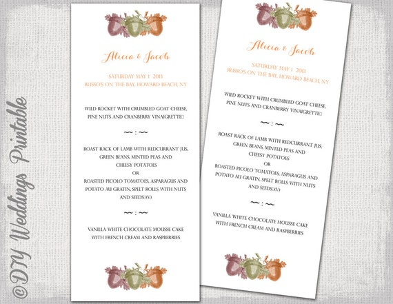 fall wedding menu template acorns printable menu