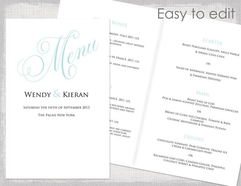 Wedding menu template Ocean blue Booklet Calligraphy menu DIY menu