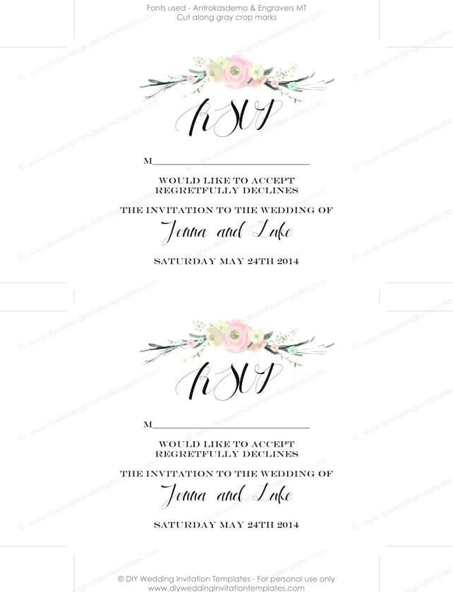 Rustic Wedding Invitation Templates Suite Diy Rustic Flowers Blush