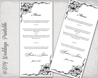 "Printable Wedding menu template -black and white elegant Scroll DIY menu - ""Corner Scroll"" digital printable menu -Editable download"