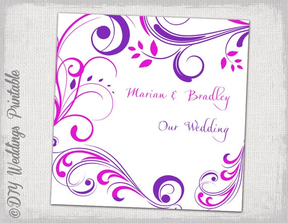 Wedding CD DVD Cover Template Purple And Pink Etsy