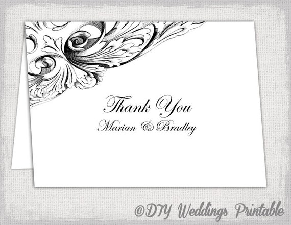 Thank You Card Template Black And White Vintage Etsy