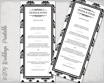 "Wedding menu template -Black & white DIY Damask wedding menu -""Rococo"" digital printable menu -YOU EDIT word/Jpg template - instant download"