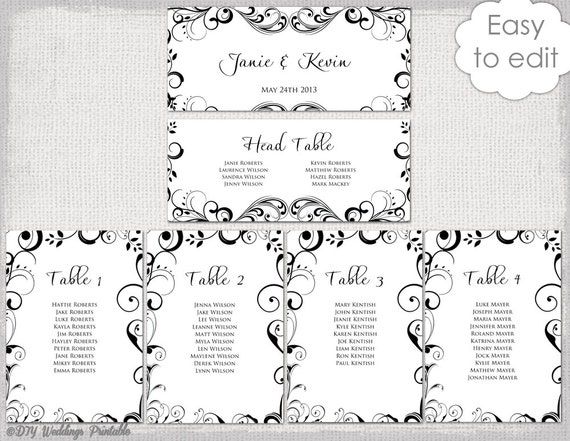 Wedding seating chart template black and white etsy image 0 maxwellsz