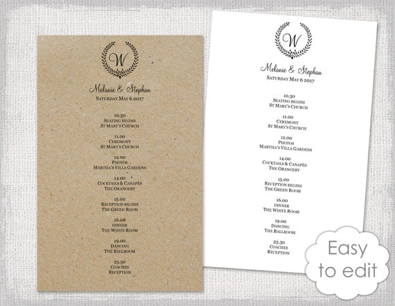 wedding itinerary template rustic wedding schedule black etsy