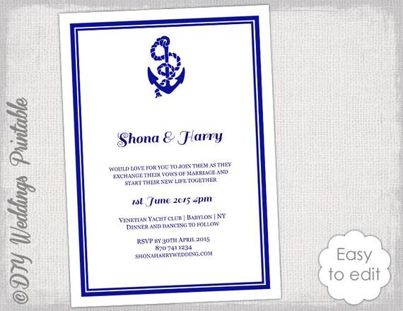 Printable Nautical wedding invitation template DIY   Etsy