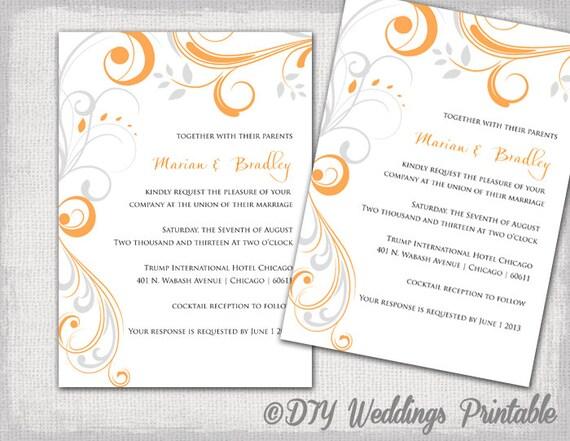 printable wedding invitation templates orange and silver gray etsy