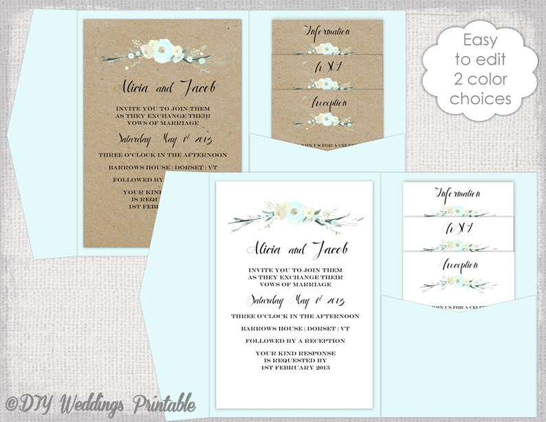 Pocket Wedding Invitation Template Diy Pocketfold Wedding Etsy