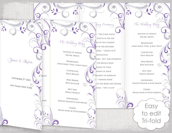 trifold wedding program template wisteria and silver etsy
