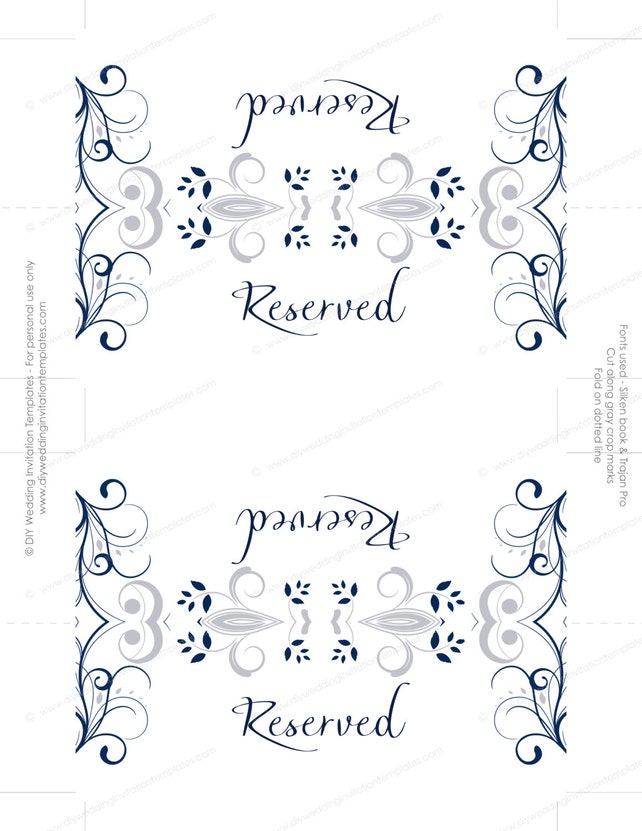 image regarding Scroll Printable referred to as Wedding day reserved indication card template \