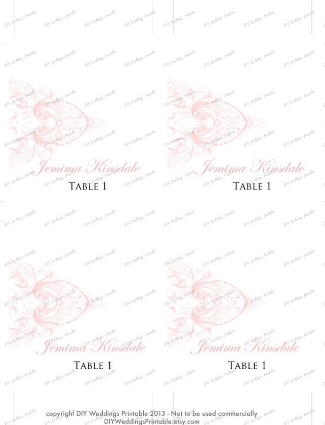 wedding place card template pink diy wedding name cards vintage
