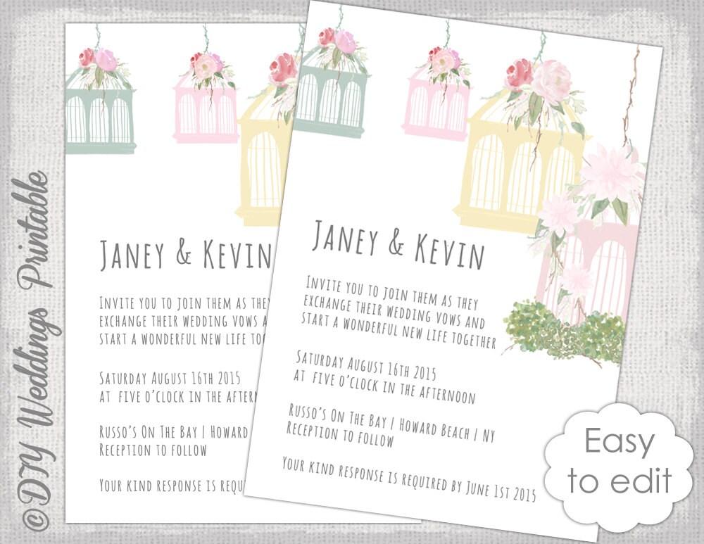 Wedding Invitations Birdcage: Birdcage Wedding Invitation Template Printable Wedding